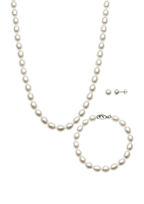 Oval-Shaped Cultured Freshwater Pearl Necklace, Bracelet, and Stud Earring Set in Sterling Silver
