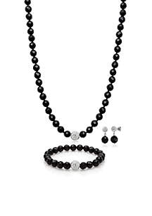 Sterling Silver Onyx and Crystal Necklace, Bracelet, and Earring Set