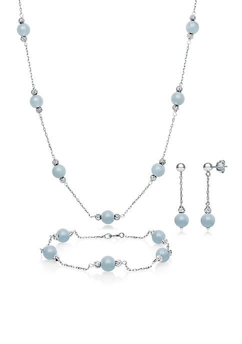 Sterling Silver Milky Aquamarine Set