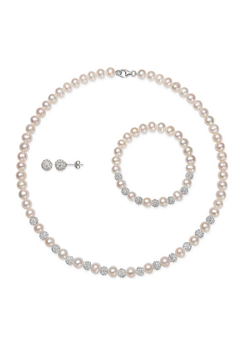 Cultured Freshwater Pearl and White Crystal Necklace, Bracelet, Stud Earring Set in Sterling Silver