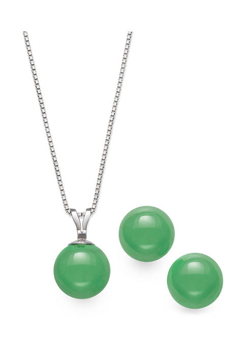 Amour de Pearl Jade Pendant and Earring Set