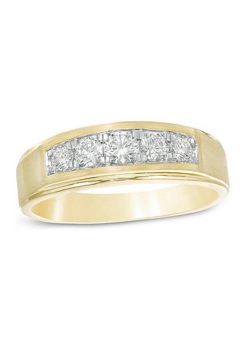 Diamour Mens 1/2 ct. t.w. Diamond Five Stone