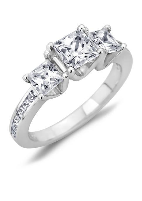 Diamour 1.25 ct. t.w. Princess-Cut Diamond Three Stone