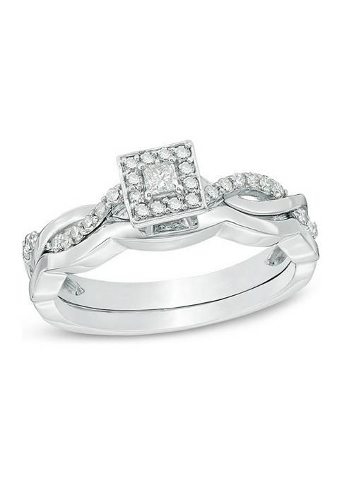 1/4 ct. t.w. Princess-Cut Diamond Frame Twist Bridal Set in 10K White Gold