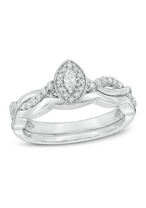 1/4 ct. t.w. Marquise Diamond Frame Twist Bridal Set in 10K White Gold