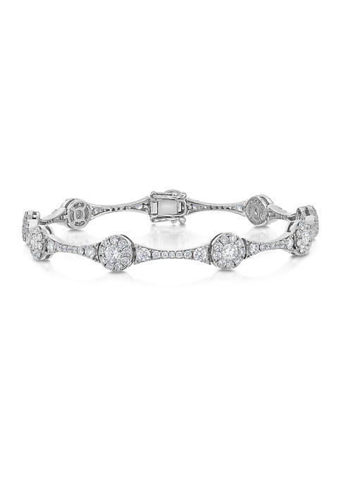 4 ct. t.w. Round Cut Diamond Halo Station Bracelet in 14K White Gold