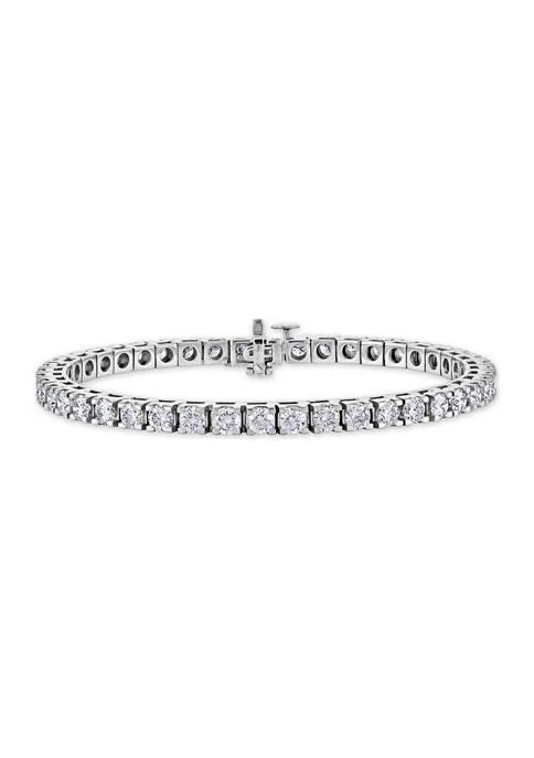 10.0 ct. t.w. Diamond Halo Line Bracelet in 14K White Gold (I1/I2)