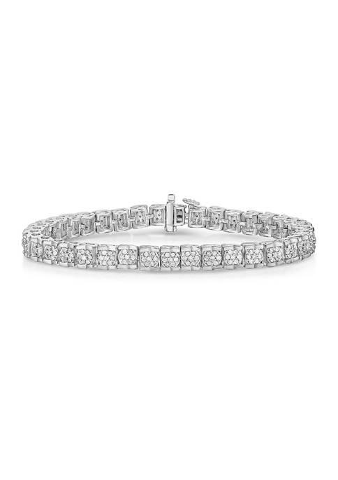 2 ct. t.w. Diamond Cluster Tennis Bracelet in Sterling Silver (H-I/I2-I3)