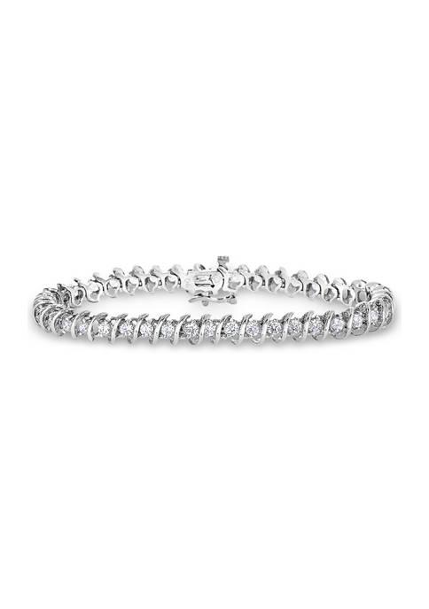 "1/2 ct. t.w. Round-Cut Diamond ""S"" Bracelet in 14K White Gold"