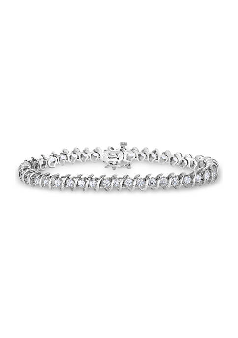 "1 ct. t.w. Round-Cut Diamond ""S"" Bracelet in 14K White Gold (I/I2)"