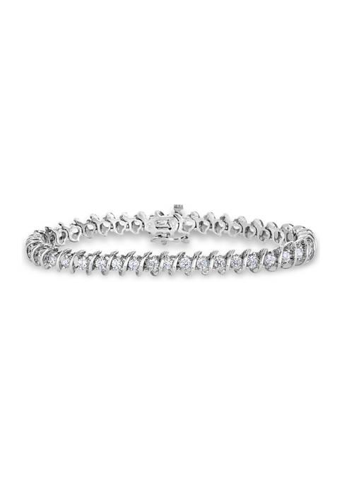 "3 ct. t.w. Round Diamond ""S"" Tennis Bracelet in 14K White Gold (I/I2)"