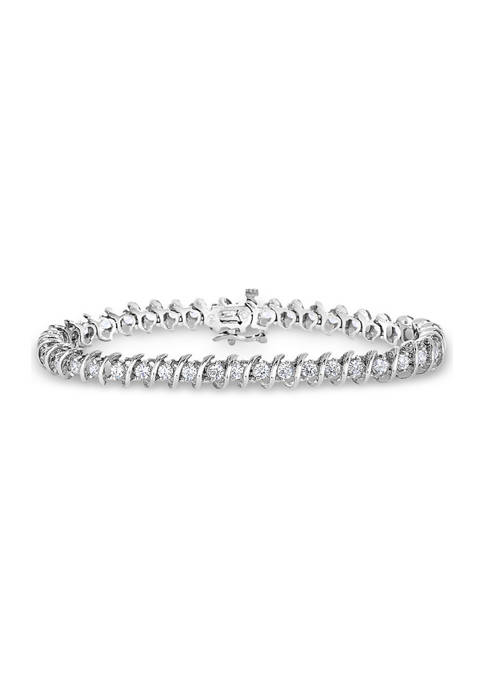 "4 ct. t.w. Round-Cut Diamond ""S"" Tennis Bracelet 14K White Gold (I/I2)"
