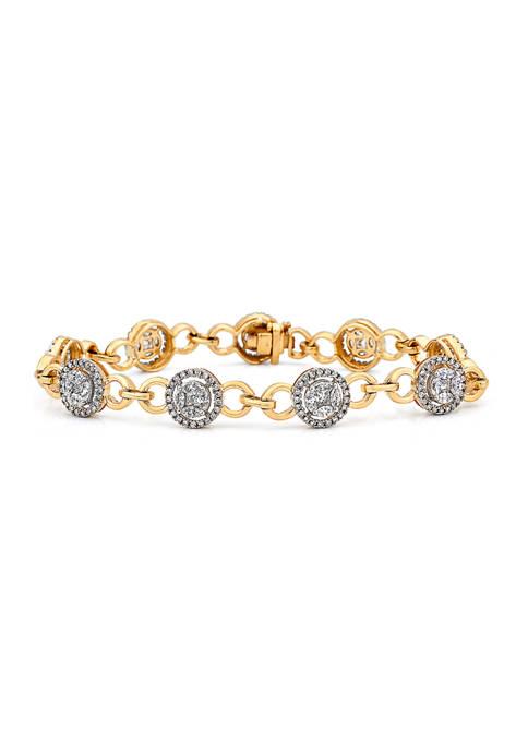 3 ct. t.w. Diamond Halo Station Tennis Bracelet in 14K Yellow Gold