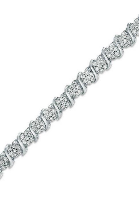 """1.50 ct. t.w. Diamond """"S"""" Tennis Bracelet in Sterling Silver"""