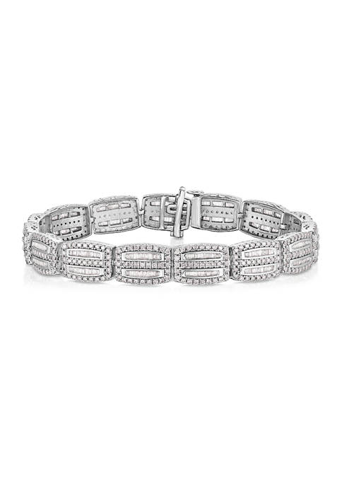 4 ct. t.w. Baguette and Round Diamond Bracelet in 10K White Gold (I/I3)