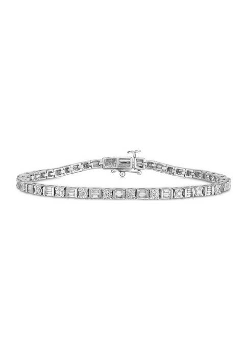 Diamour 1/2 ct. t.w. Baguette and Round Diamond