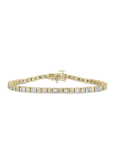 1/2 ct. t.w. Baguette and Round Diamond Tennis Bracelet in 10K Gold (I/I2)