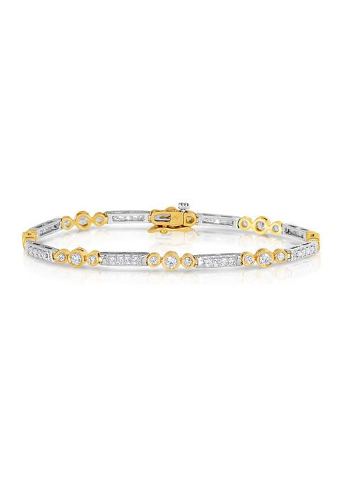 2 ct. t.w. Round Cut Diamond Station Tennis Bracelet in 14K Two Tone Gold