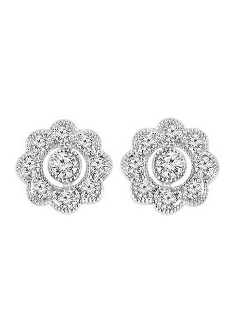 1/4 ct. t.w. Diamond Flower Frame Vintage-Style Stud Earrings in Sterling Silver