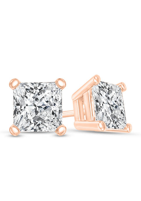 1/4 ct. t.w. Certified Princess-Cut Diamond Solitaire Stud Earrings in 14K Rose Gold (I/SI2)
