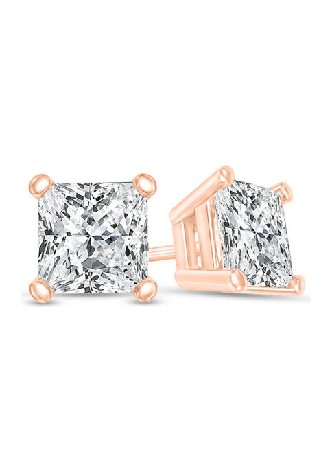 1/3 ct. t.w. Certified Princess-Cut Diamond Solitaire Stud Earrings in 14K Rose Gold (I/SI2)
