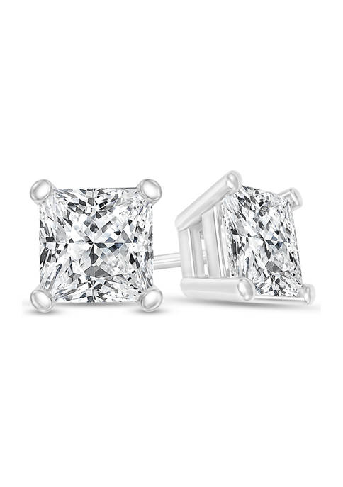 1/2 ct. t.w. Certified Princess-Cut Diamond Solitaire Stud Earrings in 14K White Gold (I/SI2)