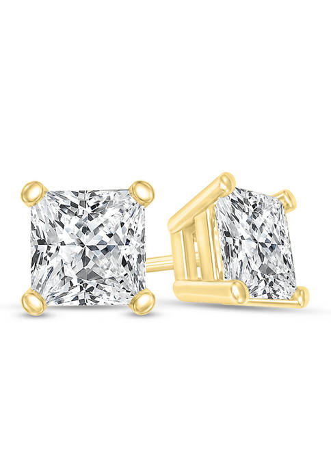 1/3 ct. t.w. Certified Princess-Cut Diamond Solitaire Stud Earrings in 14K Gold (I/SI2)