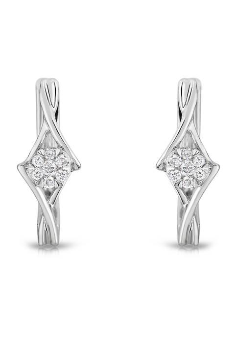 1/10 ct. t.w. Round Cut Diamond Hoop Earrings in 10K White Gold