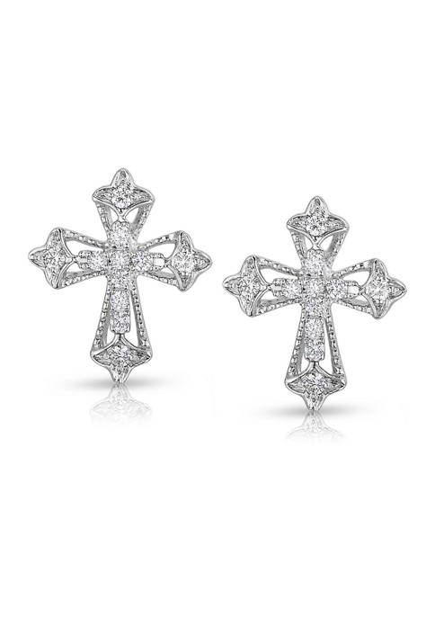Diamour 1/10 ct. t.w. Diamond Ornate Vintage-Style Cross