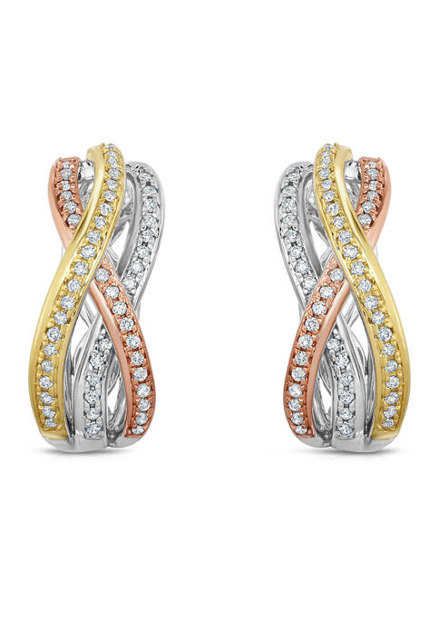 1/3 ct. t.w. Round Cut Diamond Hoop Earrings in 10K Tri Color Gold