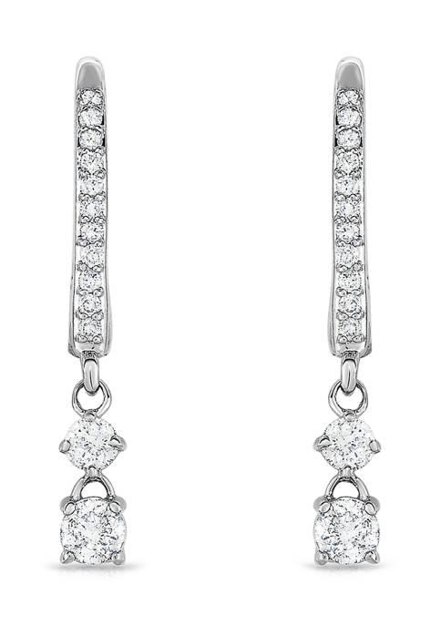 1 ct. t.w. Round Cut Diamond Fashion Drop Earrings in 14K White Gold
