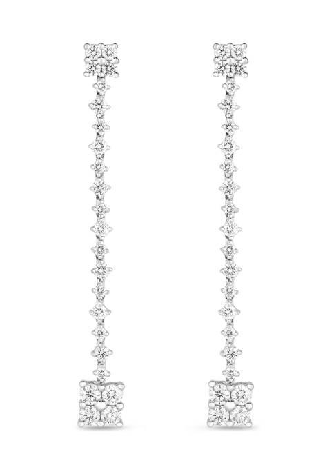 1.5 ct. t.w. Round Cut Diamond Linear Drop Earrings in 14K White Gold