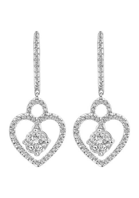 Diamour 3/4 ct. t.w. Diamond Heart Dangle Earrings