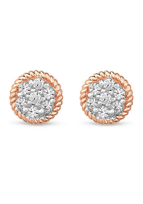 Diamour 3/8 ct. t.w. Round-cut Diamond Cluster Stud