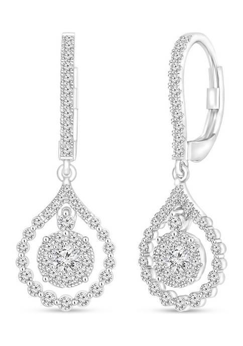 Diamour 1 ct. t.w. Round-Cut Diamond Drop Earrings