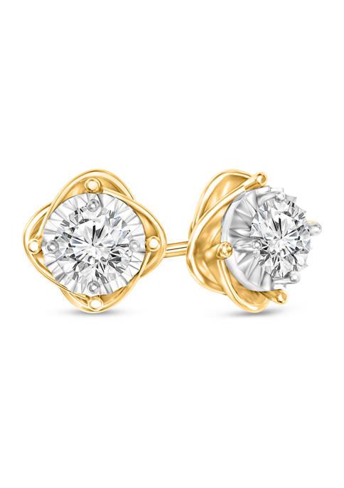 Diamour 1/4 ct. t.w. Round Cut Diamond Floral