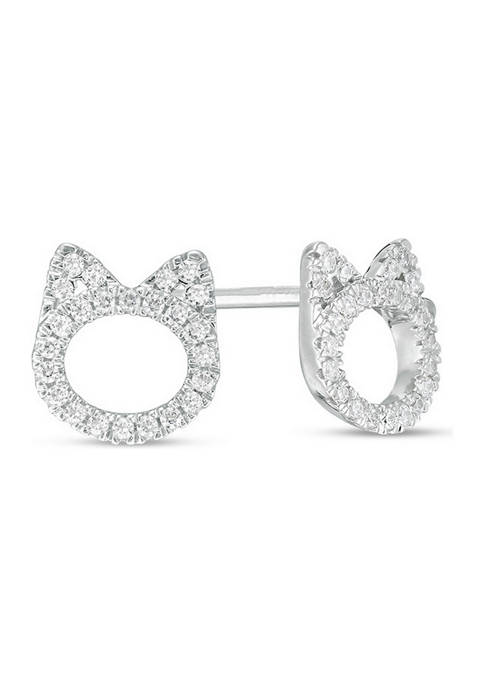 Diamour 1/5 ct. t.w. Diamond Cat Stud Earrings