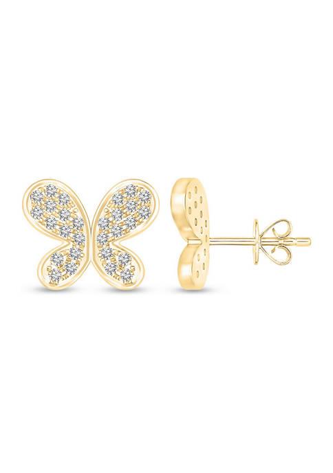 Diamour 1/5 ct. t.w. Round-Cut Diamond Butterfly Earrings
