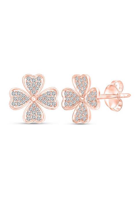 1/4 ct. t.w Diamond Heart-Shaped Four Leaf Clover Stud Earrings in 10K Rose Gold