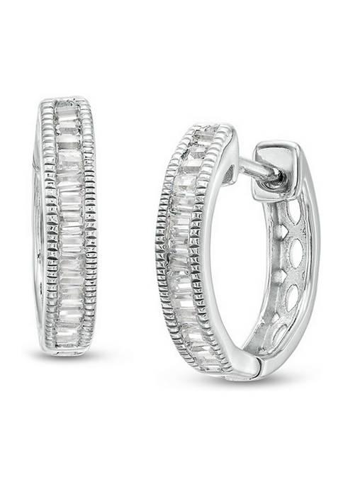 Diamour 1/4 ct. t.w. Baguette Diamond Vintage-Style Hoop