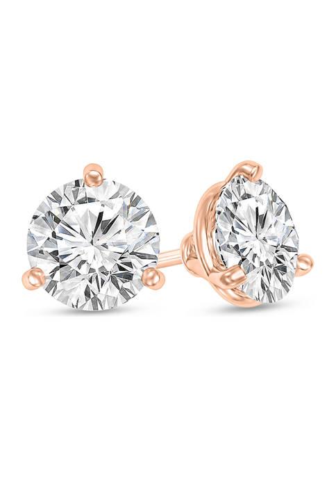 1/4 ct. t.w. Certified Diamond Solitaire Stud Earrings in 14K Rose Gold (I/VS2)