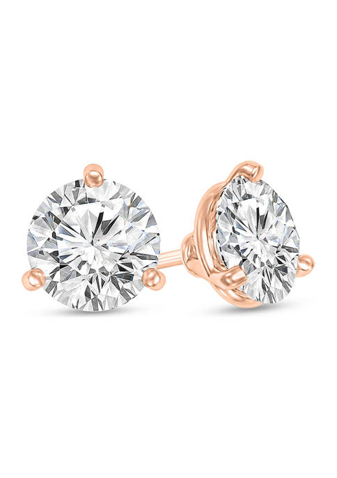 1/4 ct. t.w. Certified Diamond Solitaire Stud Earrings in 14K Rose Gold (I/SI2)