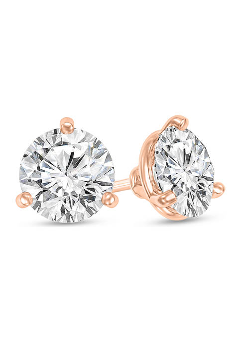 3/4 ct. t.w. Certified Diamond Solitaire Stud Earrings in 14K Rose Gold (I/SI2)