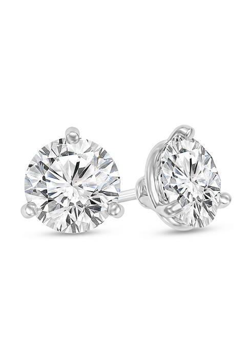 1/3 ct. t.w. Certified Diamond Solitaire Stud Earrings in 14K White Gold (I/VS2)