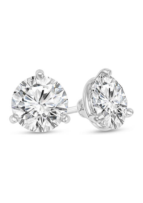 1.5 ct. t.w. Certified Diamond Solitaire Stud Earrings in 14K White Gold (I/SI2)