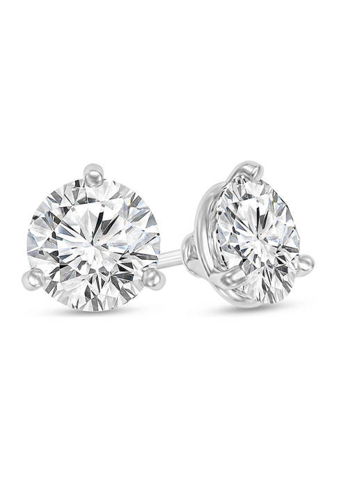 1/2 ct. t.w. Certified Diamond Solitaire Stud Earrings in 14K White Gold (I/SI2)