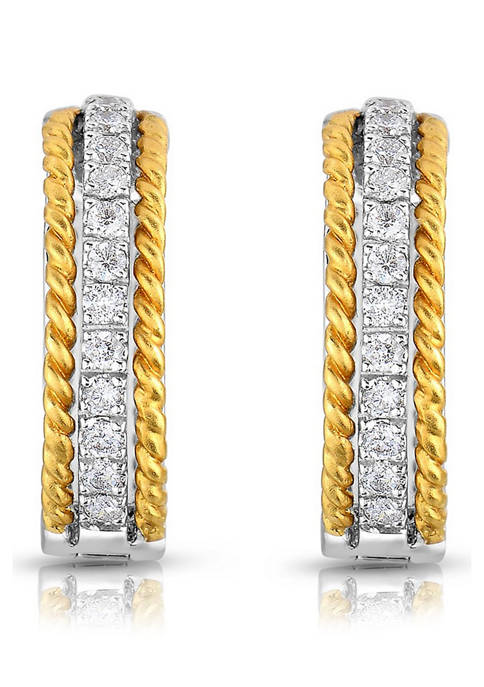 Diamour 1/3 ct. t.w. Round-Cut Diamond Hoop Earrings