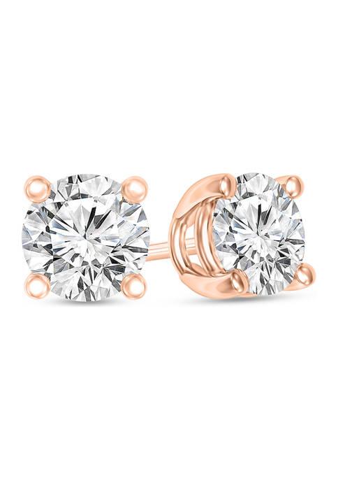 1/3 ct. t.w. Certified Diamond Solitaire Stud Earrings in 14K Rose Gold (I/VS2)