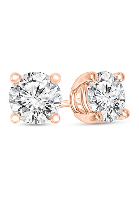1/3 ct. t.w. Certified Solitaire Stud Earrings in 14K Rose Gold (I/SI2)