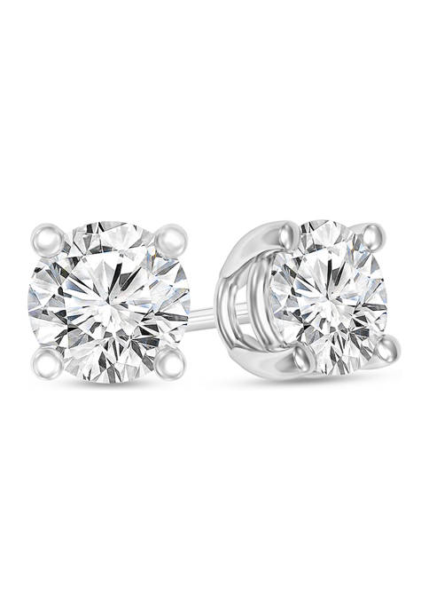 1/2 ct. t.w. Certified Diamond Solitaire Stud Earrings in 14K White Gold (I/VS2)